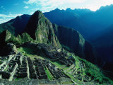 Ancient Ruins on Hillside  Machu Picchu  Cuzco  Peru