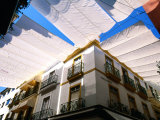 Awnings over Calle Sierpes Street  Sevilla  Andalucia  Spain