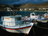 Fishing Boats Moored in Folegandros Port  Folegandros  Southern Aegean  Greece