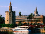 Boat on River in Front of Torre del Oro  Sevilla  Andalucia  Spain