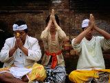 People Praying at Holy Water Ceremony at Spring Water Temple  Tampaksiring  Bali  Indonesia
