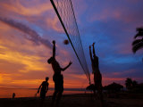 Volleyball on Playa de Los Muertos at Sunset  Mexico