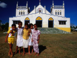 Group of Children Outside Vaiusu Catholic Church  Upolu  Samoa