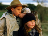 Young Farm Boy and Girl Leaning Against a Fence Post  Hamilton  Victoria  Australia