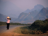 Farmer Makes Her Way to Field in Morning  Shouldering Hoe  Tam Duong  Lao Cai  Vietnam