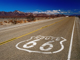 Route 66 Sign on Highway Near Amboy  Mojave Desert  California
