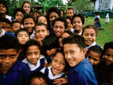 Group of Schoolchildren Smiling  Upolu  Samoa