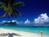 Female Tourist on Lalomanu Beach  Upolu  Samoa