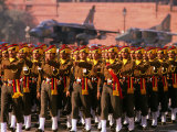 Soldiers Marching on Parade with Fighter Planes in Background  Delhi  India