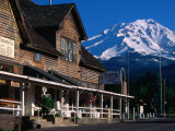 Mccloud Mercantile Hall with Mt Shasta in Background  Mt Shasta  California