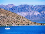 Anchored Yacht and Coastal Village  Bahia Conception  Sea of Cortez  Baja California  Mexico