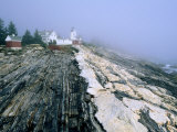 Pemaquid Point Lighthouse in Distance  Fog  Maine