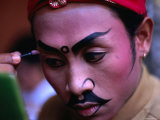 Actor Applying Makeup at Ngenteg Linggih Festival  Kedewatan Village  Ubud  Bali  Indonesia