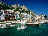 Boats in Marina Grande Harbour  Capri  Campania  Italy