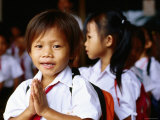 Local School Children Assemble Before School  Kampot  Cambodia