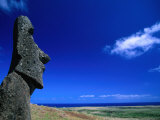 Traditional Moai Carved Form Soft Volcanic Rock at Rano Raraku  Easter Island  Valparaiso  Chile