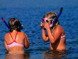 Young Girls with Snorkel and Masks in Water  Vejbystrand  Skane  Sweden