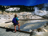Visitor on Boardwalk Looking at Fumaroles  Bumpass Hell  Lassen Volcanic National Park  California