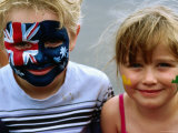 Children with Their Faces Painted at Australian Tennis Open  Melbourne  Victoria  Australia