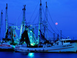 Moon over Shrimp Trawlers in Harbour  Palacios  Texas