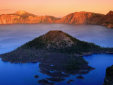 The Watchman and Wizard Island  Sunset  Crater Lake National Park  Oregon