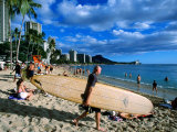 Surfer on Waikiki Beach  Oahu  Hawaii