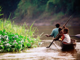 People Canoeing on River  East Sepik  Papua New Guinea