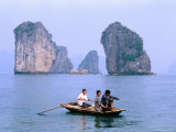 People Fishing in Small Boat with Karsts in Background  Ha Long  Bac Giang  Vietnam