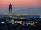 City Skyline  with Palazzo Vecchio  Illuminated at Dusk  Florence  Tuscany  Italy