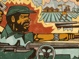 Detail of Mural Near Airport Depicting Civil War  Maputo  Mozambique