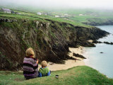 Mother with Son Enjoying Slea Head Beach  Dingle Peninsula  Ireland