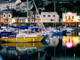 Lights and Yachts Reflected in Harbour at Dusk  Torquay  Torbay  England