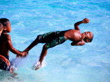 Children Playing in Water  Lifou Island  Loyalty Islands  New Caledonia