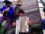 Two Gaucho Musicians Playing Guitar and Accordion  Buenos Aires  Argentina