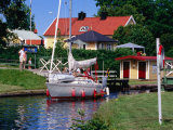 Sailboat on Gota Kanal  Borensberg  Ostergotland  Sweden