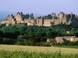 La Cite  12th Century Castle in Distance  Carcassonne  Languedoc-Roussillon  France