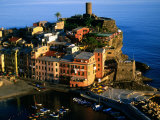 Town on Ligurian Sea from Above  Vernazza  Liguria  Italy