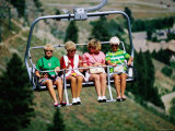 Four Women on Chairlift  Sun Valley  Idaho