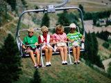Four Women on Chairlift  Sun Valley  Idaho