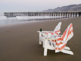 Beach Chairs and Pier at Sunrise  Pismo Beach  California