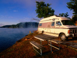 Campervan Parked Beside Lake  Ozark National Park  Missouri