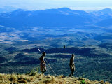 Two Men from Samburu Morans Tribe at Losiolo  Great Rift Valley  Rift Valley  Kenya