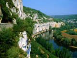 Steep Cliffs on Banks of Lot River  Bouzies  Midi-Pyrenees  France