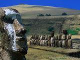 Traditional Carved Moai at Ahu Tongariki  Ahu Tongariki  Valparaiso  Chile