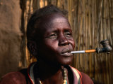Woman Smoking a Pipe  Gambela  Ethiopia