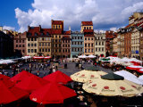Summertime Open-Air  Outdoor Cafes on Old Market Square  Warsaw  Mazowieckie  Poland