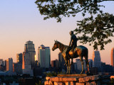 City Skyline Seen from Penn Valley Park  with Indian Statue in Foreground  Kansas City  Missouri