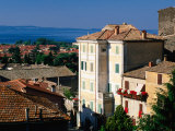 Buildings of Village with Lake Bolsena Beyond  Bolsena  Lazio  Italy