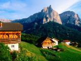 Farm Buildings with Sciliar Mountains  Castelrotta  Trentino-Alto-Adige  Italy