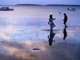 Children Standing in Shallow Tide  Tongatapu Island  Tongatapu Group  Tonga